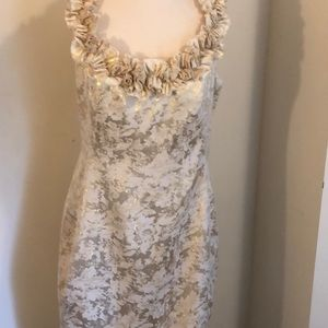 London Times Gold & cream dress